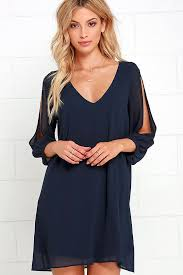 pretty navy blue dress shift dress cold shoulder dress 44 00