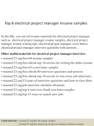 Resume Sample Program Manager by Top8electricalprojectmanagerresumesamples 150515013459 Lva1 App6892 Thumbnail 4 Jpg Cb U003d1431653745