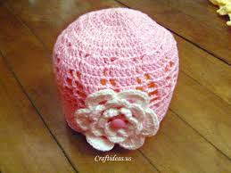 crochet pink hat for spring craft ideas