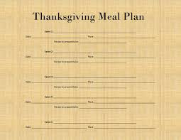 thanksgiving meal plan ingredient list printable