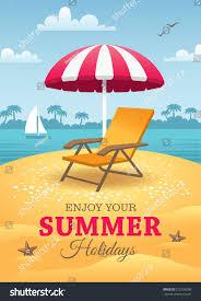 Beach Sun Umbrella Bright Summer Holidays Poster Orange Deck Stock Vector 272292008