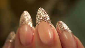 french almond glitter traditional french acrylic nail technique