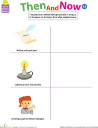 thinking past and present then and now 2 worksheets then and