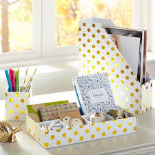 Desk Organization Accessories Pb Printed Paper Desk Accessories Gold Dot At Pottery Barn
