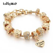 love heart bracelet images Gold heart bracelet with beads women 39 s accessories jpg