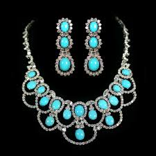 white gold turquoise necklace images Turquoise diamond earrings and necklace set accompanied by a jpg