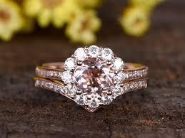 morganite bridal set 1 2 carat morganite bridal set 14k gold moissanite