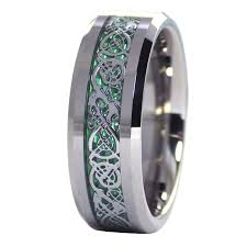 size 16 mens wedding bands green celtic ring mens womens tungsten ring size 6 6 5 7