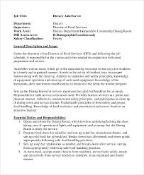 Sample Dietary Aide Job Description  Examples In PDF - Dining room supervisor job description
