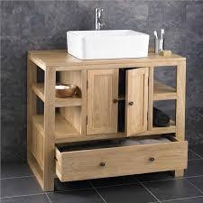 Two Door Solid Oak Corner Freestanding Bathroom Sink Basin Unit - Bathroom basin and cabinet