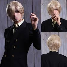 halloween costume blonde wig sanji one piece mens cool short blonde halloween party costume