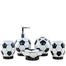 gift ideas for soccer fans amazon com high grade 5 pieces bathroom accessory set with soccer
