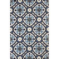 Navy And White Outdoor Rug 8 X 10 Large Mosaic Medallion Navy Blue Outdoor Rug Atrium Rc