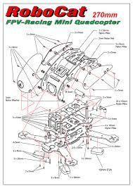 robocat 270mm carbon fiber mini quadcopter frame mwc v2 6 12a