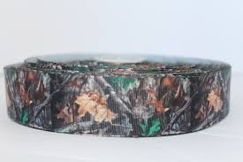 camouflage ribbon camo grosgrain ribbon 1 5 green and darker brown leaves