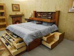 Wood Bed Frame With Drawers Bed Frames Platform Bed Frame With Storage Reclaimed Wood