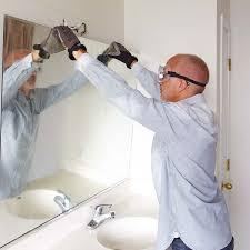Large Bathroom Mirror Remove A Glued On Bathroom Mirror Before Remodeling A Bathroom