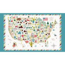 Map Fabric Windham Fabrics Coast To Coast Multi Coast To Coast Usa Map 24