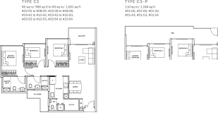 sq ft to sq m the glades condo floor plan u2013 3br suite u2013 c3 u2013 92 93 sqm 990 1001