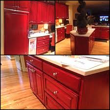 red kitchen cabinets with black glaze kitchen cabinet ideas