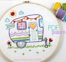 Kitchen Towel Embroidery Designs Retro Camper Embroidery Pdf Pattern Retro Campers Embroidery