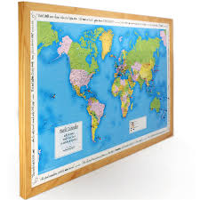 World Map Framed Personalised World Traveller Map In Light Wood Amazon Co Uk