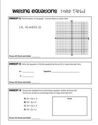 writing linear equations from a table linear equations round table activity standard form equation and