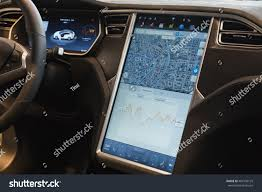suv tesla inside milan italy march 31 2016 interior stock photo 401540125