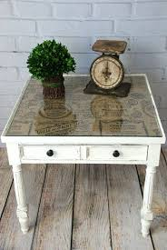 glass table top ideas burlap topped side table chalk paint tabletop and burlap