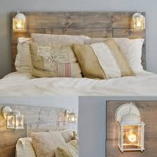 Headboards And Beds Wood Pallet Bed With Lantern Lights We Have This And Love It