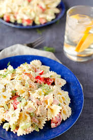 smoked salmon and dill pasta salad veggies by candlelight