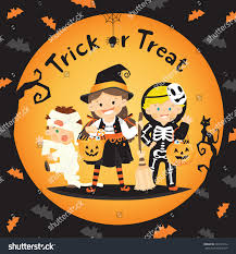 children trick treat halloween stock vector 323491412 shutterstock