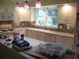 kitchens with black cabinets painting stained kitchen white tile