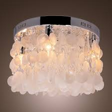 Beachy Chandeliers by Lightinthebox Modern White Shell Crystal Home Ceiling Light
