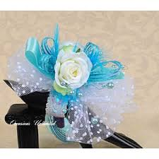 Prom Wristlets Prom Corsage Corsage Tiffany Blue Bling Corsage Dance