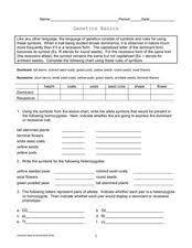 genetics basics 9th 12th grade worksheet lesson planet