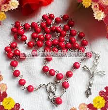 pink rosary free ship 7mm pink wood bead rosary religious rosary necklace pink
