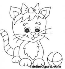 kitten coloring pages to print printable cute kitten playing with ball coloring pages printable