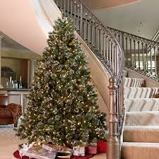 9 foot christmas tree glittery pine pre lit christmas tree home kitchen