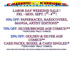 labor day weekend sale sept 1 4 cards comics u0026 collectibles
