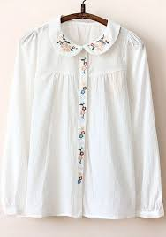 embroidered blouses white plain embroidery pan collar cotton blouse blouses tops