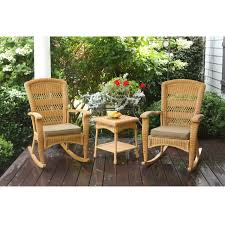 3pc outdoor porch rocker set w 2 amber wicker resin rocking