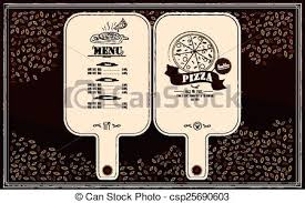 vector clipart of creative restaurant menu design in pizza paddle