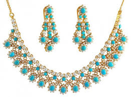 turquoise necklace sets images Turquoise and pearls necklace set ajns50481 turquoise and jpg