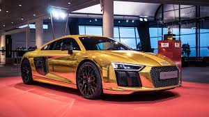audi r8 audi r8 v10 plus in gold chrome at audi forum neckarsulm photo