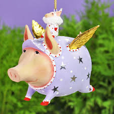 patience brewster tinkerbelle flying pig ornament
