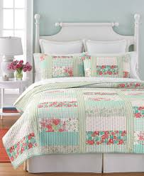 martha stewart collection aqua u0026 coral patchwork posey twin quilt