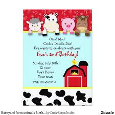 barnyard farm animals birthday invitations 5 x 7