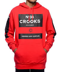 crooks and castles klepto red hoodie zumiez