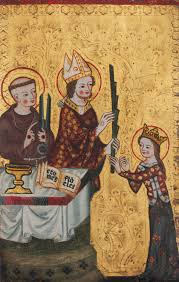the bi of assisi handing a palm to saint clare